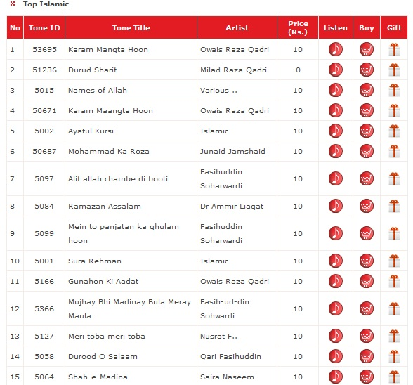 Warid Dial Tunes Codes