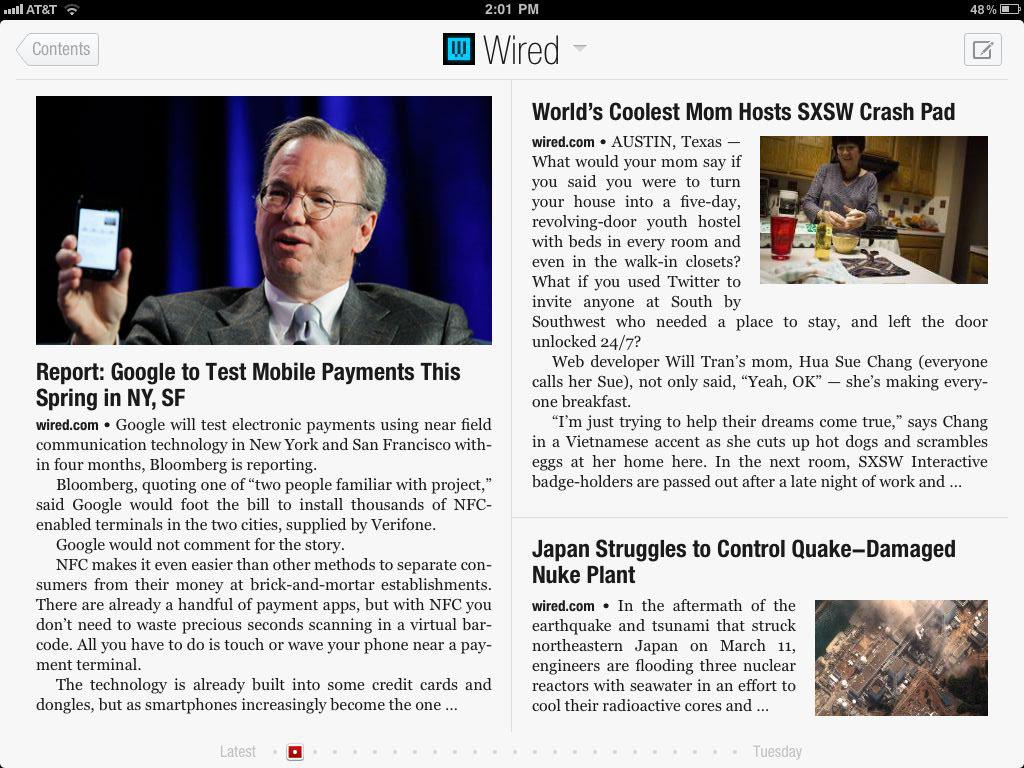Flipboard ipad 2 app 2011