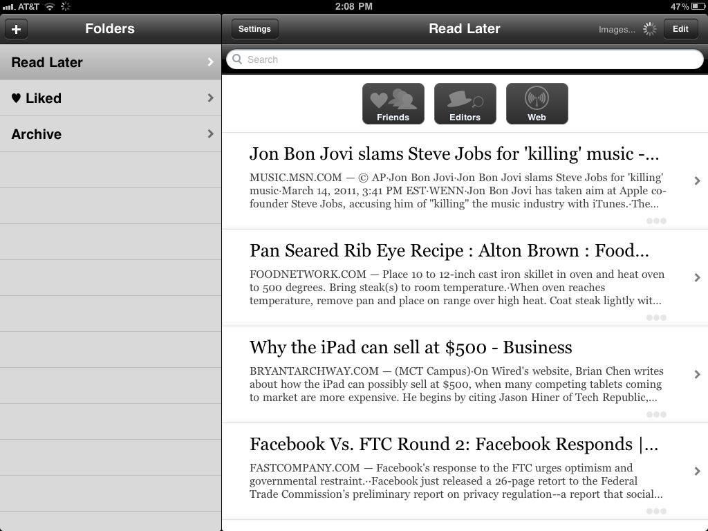 Instapaper ipad 2 app 2011